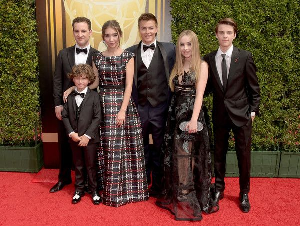 (L-R) Actors Ben Savage, August Maturo, Rowan Blanchard, Peyton Meyer, Sabrina Carpenter, and Corey Fogelmanis attend the 2015 Creative Arts Emmy Awards at Microsoft Theater on September 12, 2015 in Los Angeles, California.