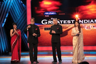 Amitabh Bachchan, Madhuri Dixit and Mandira Bedi at The Greatest India Grand Finale.   Bollywood Cleavage
