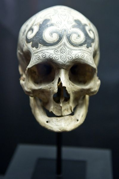 Ancestral skull with engraving. Private collection. Dayak, Borneo, 19th Century. The ancestral skulls were decorated with fine lead inlays.