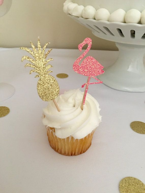 Flamingo and Pineapple Cupcake Toppers ~Food Picks ~ Aloha Party ~ Luau Party ~ Summer Party ~ Flamingo Party ~ Let's Flamingle