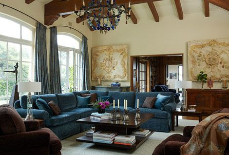 Rich Brown And Navy Blue Living Room A Living Room Decorated In Earthy Blues And Browns Is