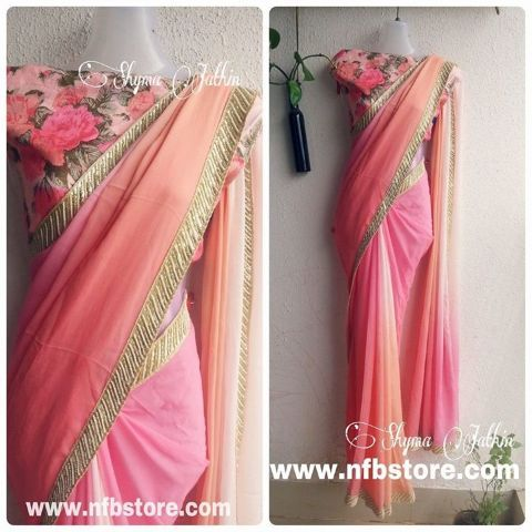 Semi pure shaded Georgette saree with Pure Raw Silk Blouse mt.