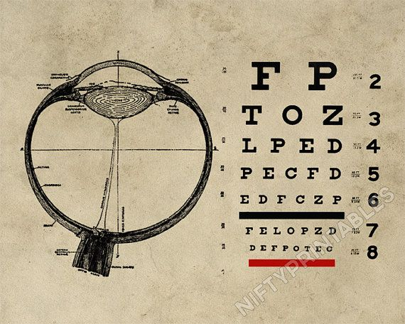 Vintage Ophthalmologist Eye Chart, instant download print by NiftyPrintables, $5.00 #eyes #ophthalmology #optometry