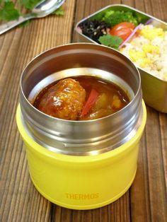 デミグラスソースの煮込みハンバーグ ガーリックオニオン卵ライス ひじきの胡麻炒め お弁当レシピ スープジャー スープポットのお弁当 | うちくるくるお弁当雑記
