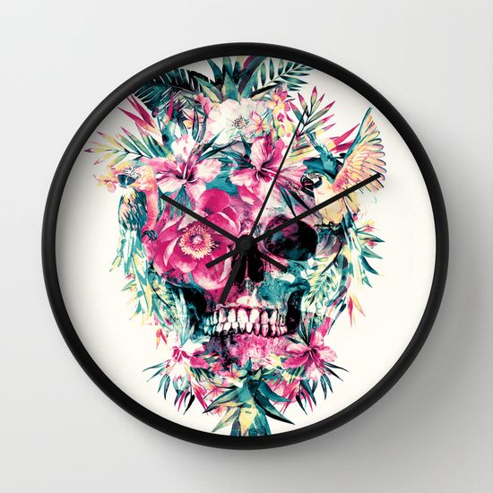Memento Mori by RIZA PEKER #skull #floral #birds #tropical #colors #watercolor #leaves #wall #clocks #funny #bones #society6
