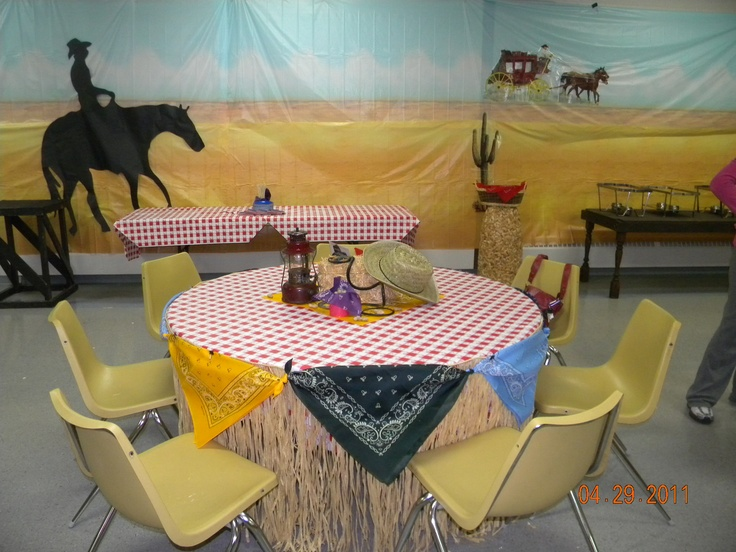 Western Party Theme - Party decor  I used scene-setters and created a silouette of the cowboy on the horse.