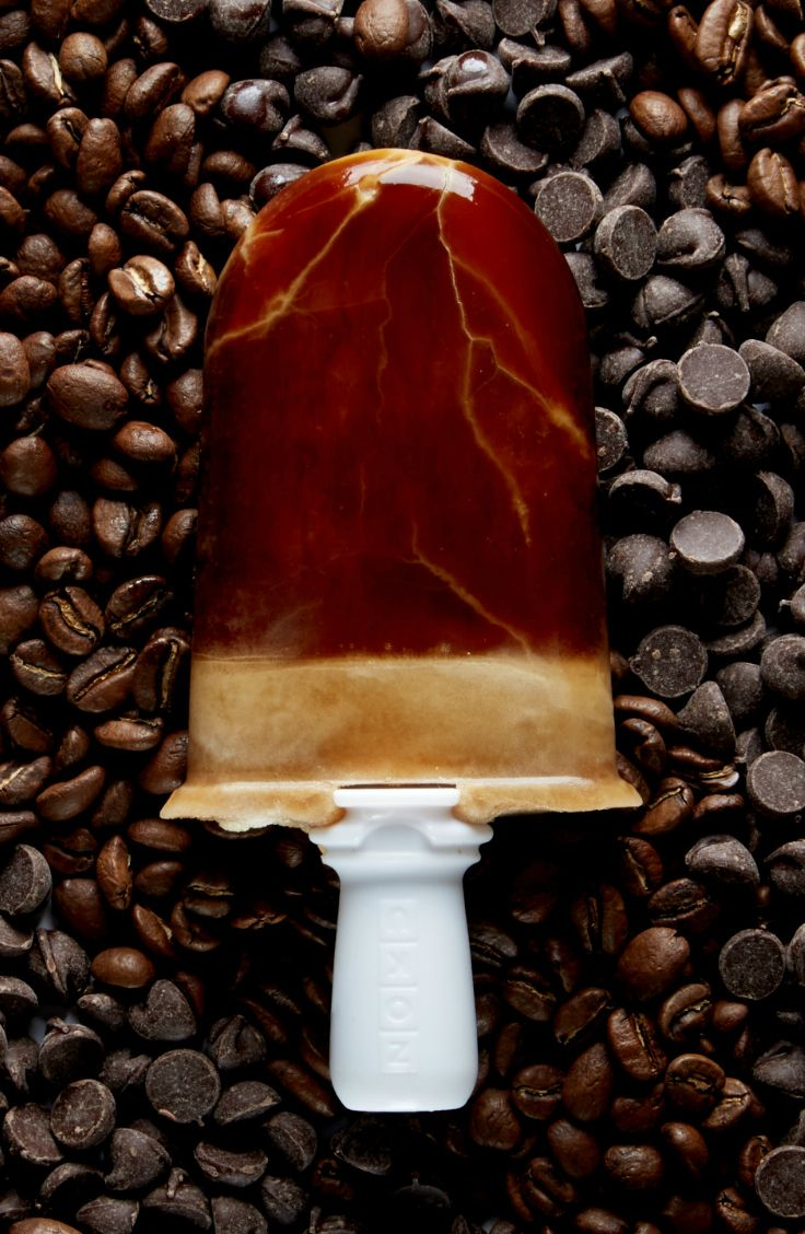 Popsicles you can eat for breakfast! This one is a cold brew coffee and chocolate chip popsicle.