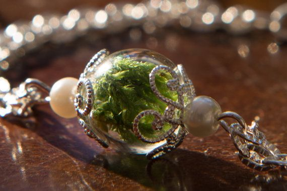Best Friend Gift  Real Woodland Moss by FoxandFernJewellery