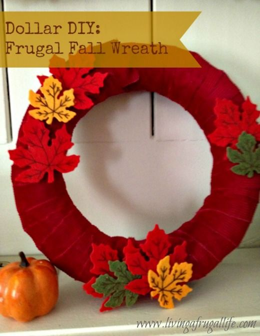 Frugal Fall Leaf Wreath makes the perfect door decoration