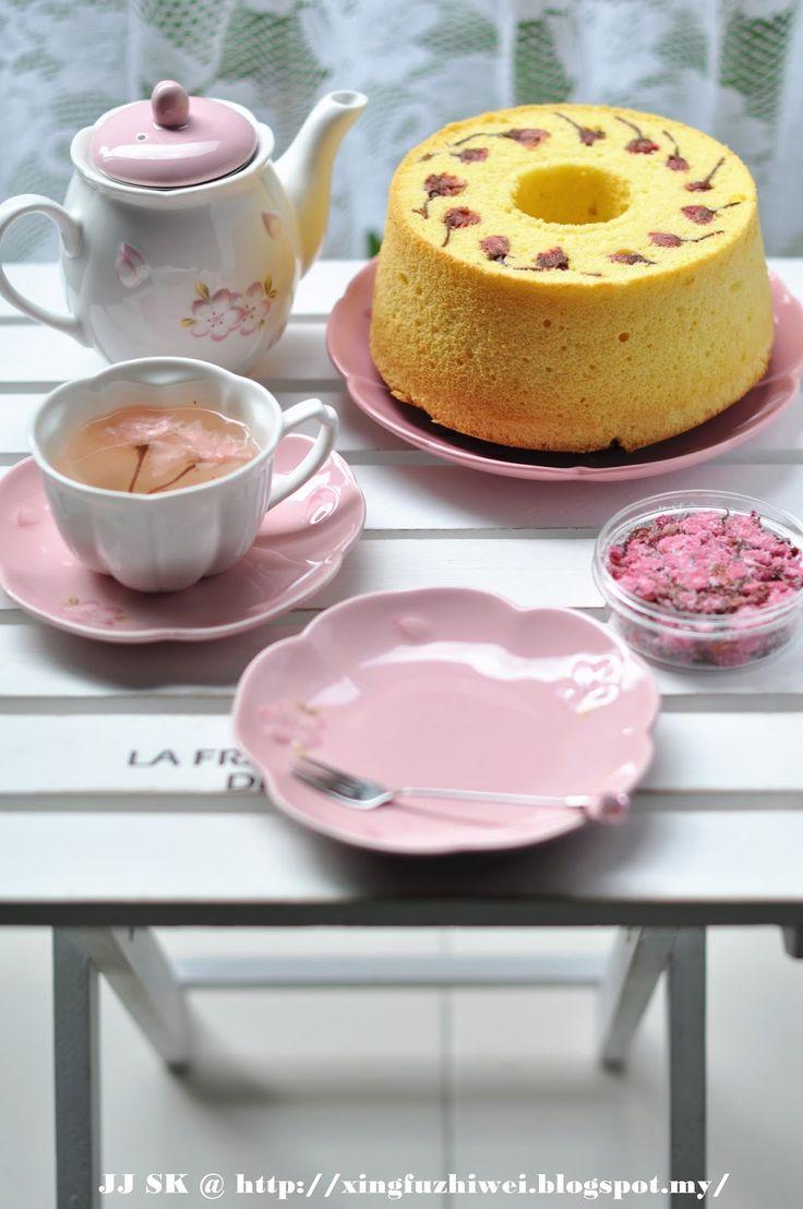 Die Liebe der Küche Geschmack des Glücks: Käse Kirsche Chiffon Kuchen Sakura Chesse Chiffon-Kuchen