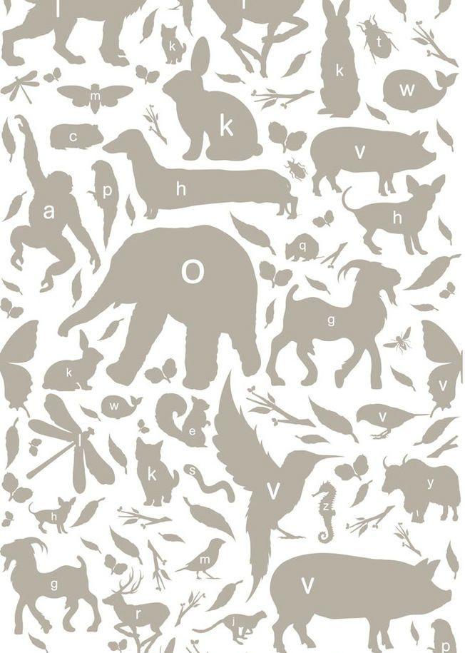 Papel infantil alfabeto gris topo papeles pintados con for Papel pintado topos