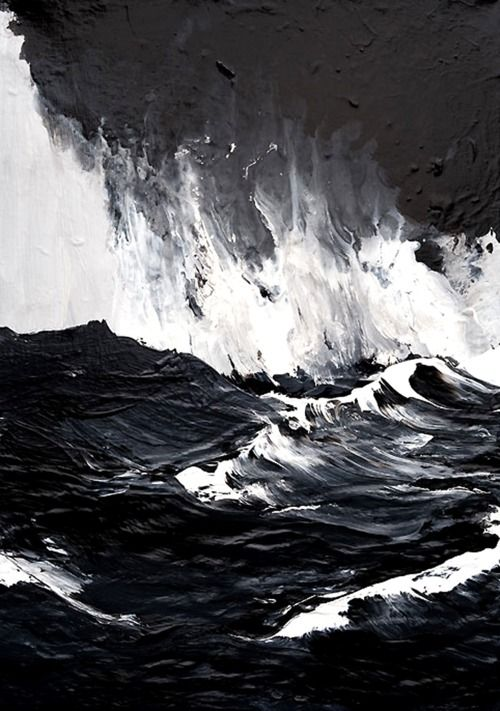 Mesmerized by the raging, unyielding waters in Werner Knaupp's paintings – what a master of dark shades, moody layers and textures. Brilliant.