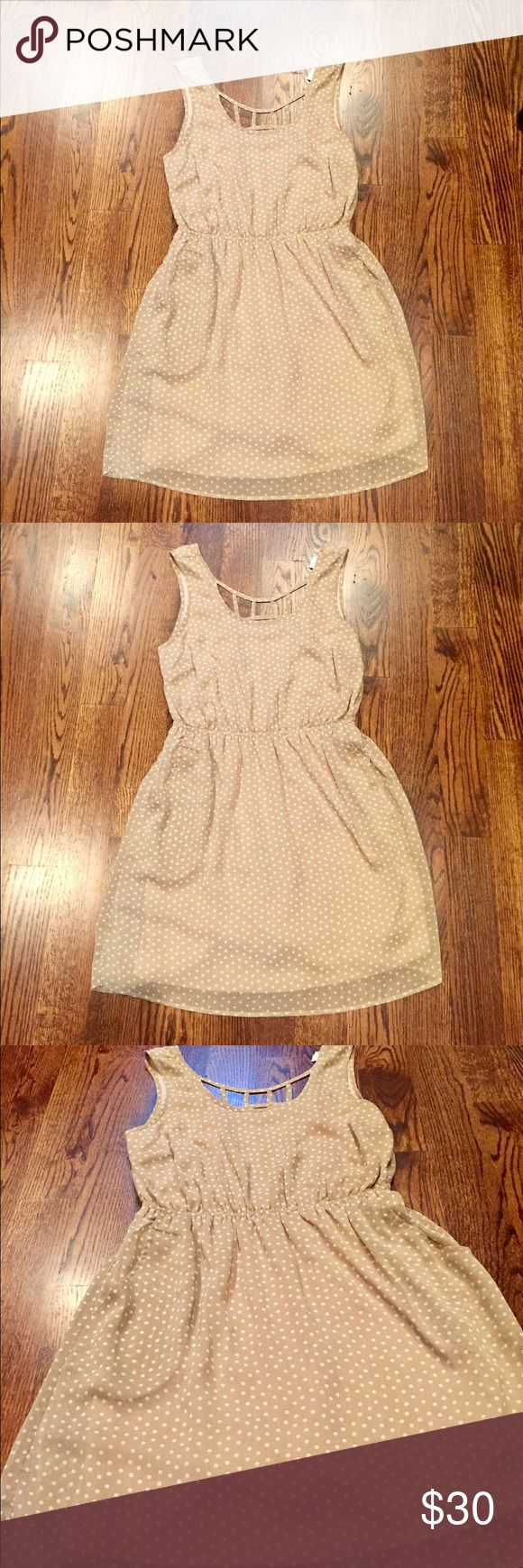 CLOSET CLEAR OUT SALE ⚡️ Beige and white polka-dot dress. Perfect condition. Scoop neck. Sheer dress with attached slip underneath. Super cute and trendy cut outs in the back. Perfect for a night out or for a work day American Rag Dresses