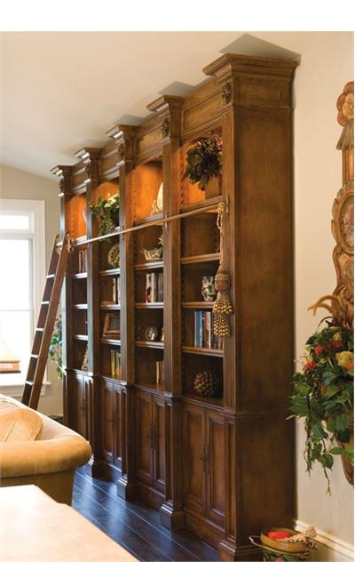 quad belmont bookcase with ladder from habersham - Habersham Furniture
