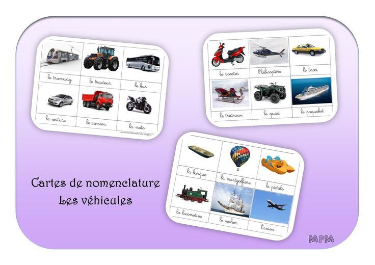Cartes de nomenclature Montessori- Les véhicules