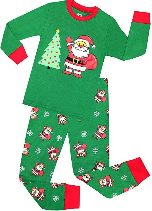 Boys Santa Christmas Pajamas Girls Cotton Clothes Kids Pjs Toddler e0e6faf79
