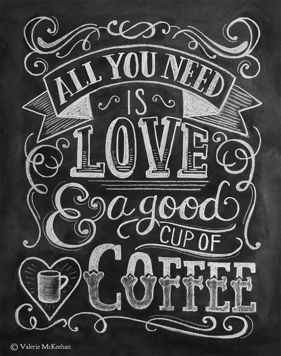 All You Need Is Love & Coffee Card - Hand Lettered Note Card - Cofee Lover Card - Blackboard Card - Chalkboard Art  - Chalk Art