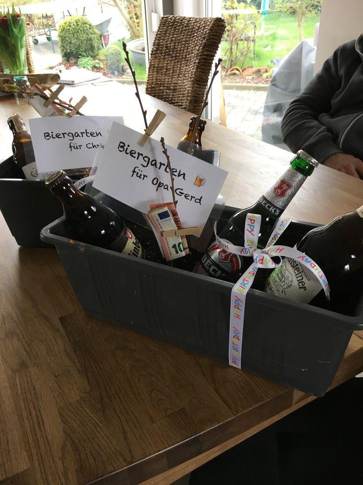 Männergeschenke - Einen Biergarten zum verschenken Geld hübsch verpackt