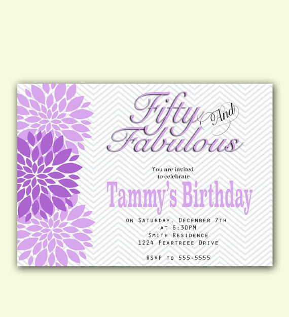 26 best 50th birthday images on pinterest 50th birthday 50 and fabulous chevron 50th birthday invitation by purplechicklet filmwisefo