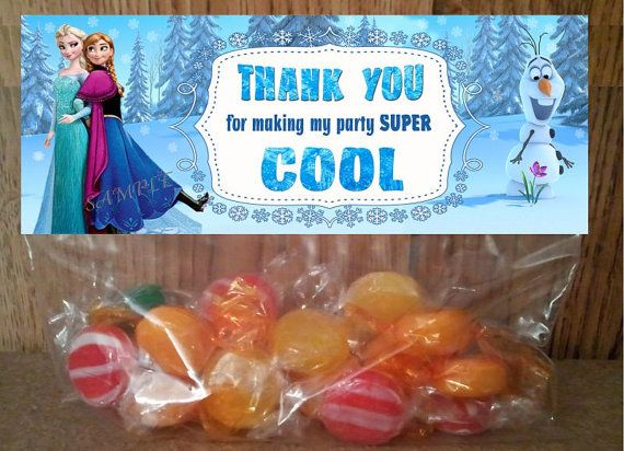INSTANT DOWNLOAD Disney Frozen Treat Bag Toppers - / Thank You  Printable file for Birthday Party matches Disney Frozen  invitations on Etsy, $2.50