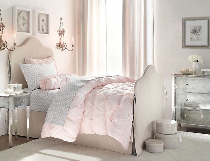 Bedroom Design, Awesome Classic Little Girls Rooms: Beautiful Pink Bed Cover With Fancy Single Girl Bed And Cool Wall Sconce