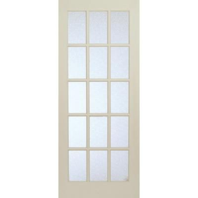 Interior 15 Lite French Door Primed With Martele Privacy Glass   28 Inches  X 80 Inches