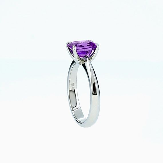 Solitaire Ring with Emerald Cut Amethyst in Platinum