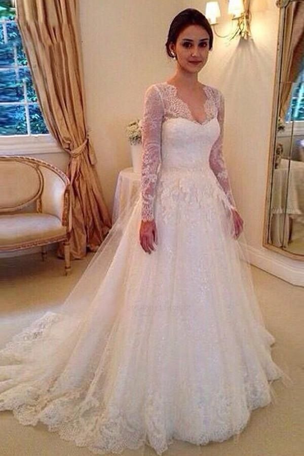 Discount Beautiful A-Line Wedding Dress, Wedding Dress With Appliques, Wedding Dress With Sleeves, V Neck Wedding Dress