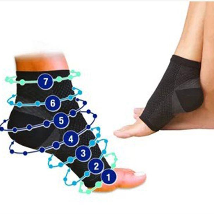 2016NEW Men Women Running Cycle Basketball Sports Outdoor Foot Angel Anti Fatigue Compression Foot Sleeve Sock 528TT
