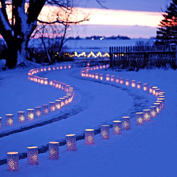 DIY Can Style Luminaries by lowescreativeideas: These 10-inch-tall cylinders are made of white plastic flashing (#233813). Drill holes in the plastic to create your own design -- stack pieces to drill multiples quickly. Tuck the cylinders into the snow or grass on either side of the path and then add candles. The more the merrier!   DIY