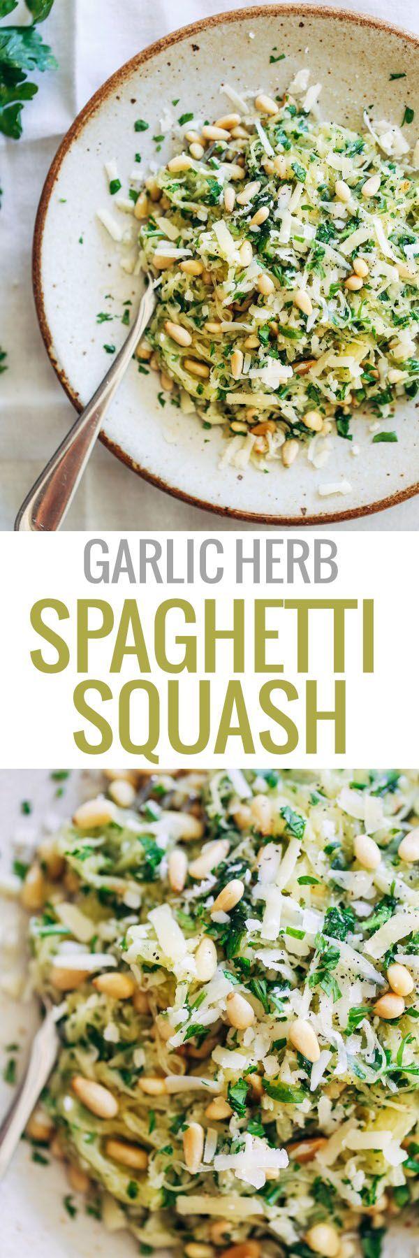 Garlic Spaghetti Squash with Herbs + pine nuts and Gruyère cheese. 300 calories.