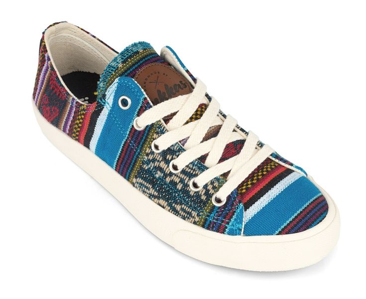 Inkkas Bluebird Low top Sneakers are premium, hand made, and feature authentic Peruvian textiles. Inkkas are unisex and vegan and help with reforestation by planting a tree for each pair sold.