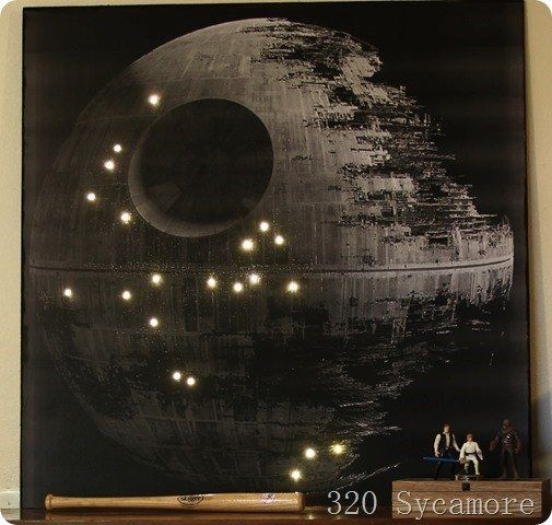 DIY your own light up Death Star wall art...