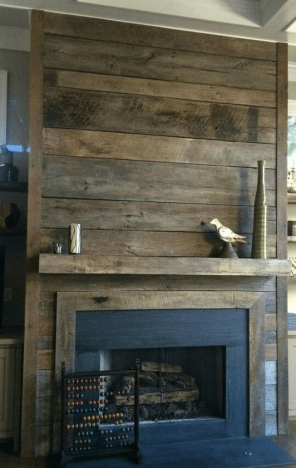 Recycled Farmhouse Wood Creates Unique Fireplace