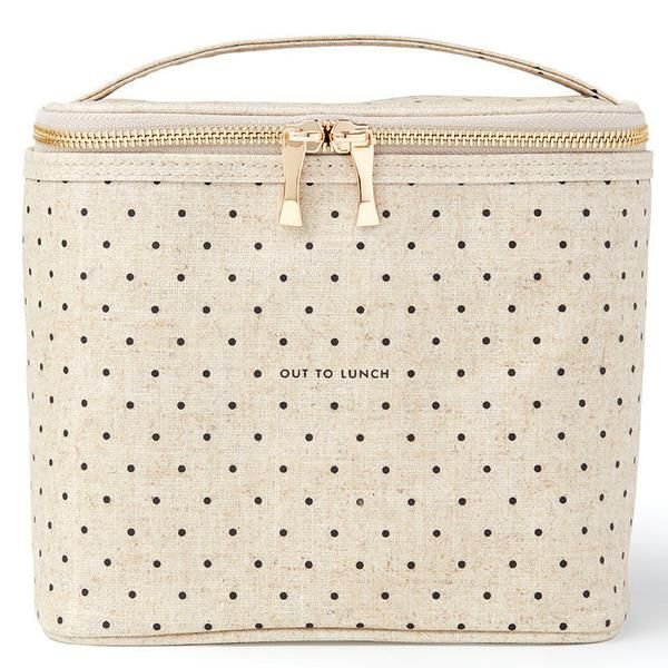 Brown-bagging it has never looked so gourmet! This lunch tote's coated linen cover is complemented by an insulated interior. The handle makes it practical; the gold bow zipper pull ever-so pretty. - C
