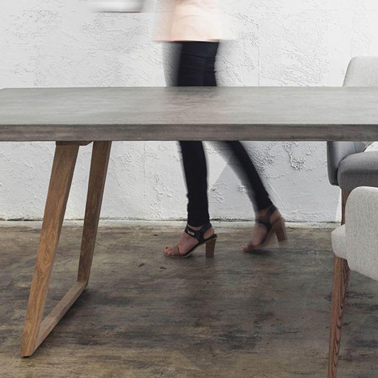 BETON ESSTISCH SCANDI TEAK LEG | 2200 x 900 | GRAU #beton #esstisch #scandi