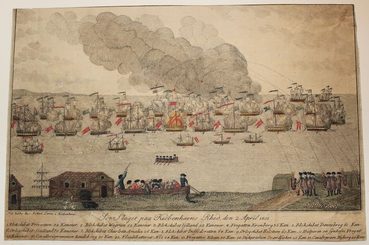 """""""Söe Slaget paa Kiöbenhavns Rhed den 2. April 1801"""".  Ukendt kunstner, ukendt datering."""