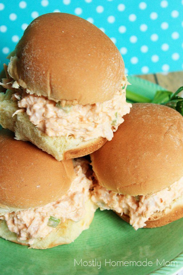 Mostly Homemade Mom: Buffalo Chicken Salad Sliders