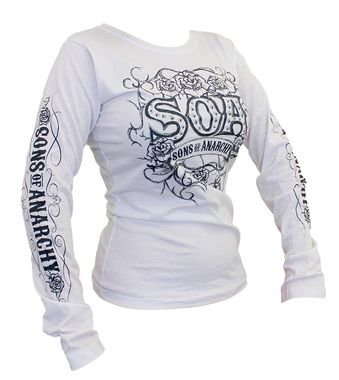 Back in stock! Sons of Anarchy Ladies Tribal Roses Long Sleeve. Check it out here >> http://store.bikerornot.com/sons-of-anarchy-ladies-tribal-roses-long-sleeve-shirt/