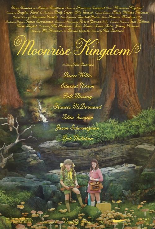 "Moonrise Kingdom, a comedy-drama directed by Wes Anderson, starring Bill Murray, Frances McDormand, Bruce Willis, Edward Norton, Tilda Swinton, Jason Schwartzman, Harvey Keitel, Bob Balaban and most especially Kara Hayward and Jared Gilman as the young teens who run away together to their ""Moonrise Kingdom"".: Bruce Willis, Wes Anderson, Moonri Kingdom, Movies Poster, Poster Quadro-Negro, Moonrise Kingdom, New Movies, Moonrisekingdom, Jessica Hische"