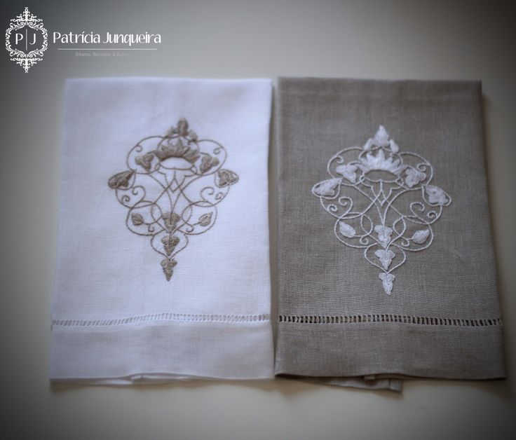 Venda de Toalhas de lavabo bordadas em linho. Patricia Junqueira {Home, Receber & Baby} Compre online: http://www.patriciajunqueira.com.br/#!toalhas-lavabo/cxj5