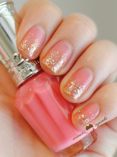 55 Floret Bud polish in sweet shimmery pink and China Glaze in Medallion to 2/3 of nails.   Cosmetic Cupcake