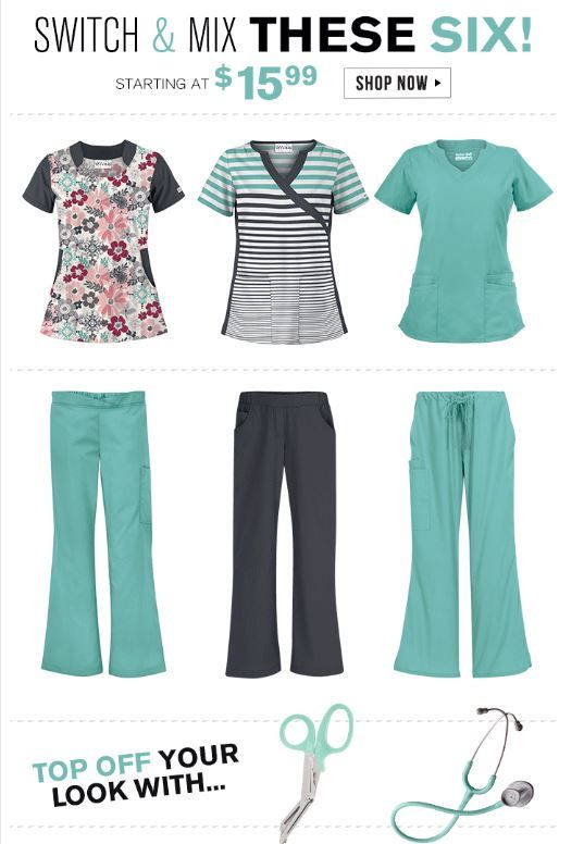 Switch & mix these 6 styles to create multiple fashion forward scrub sets…