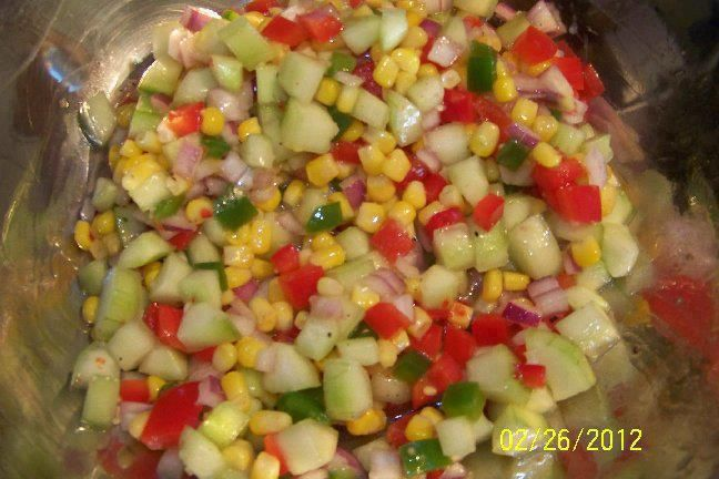 Foodgasms.Picnic Salad Ingredients 6 ears fresh corn or 3 cups frozen corn  3 cucumbers chopped 1 red pepper chopped 1 green pepper chopped 1 red onion chopped
