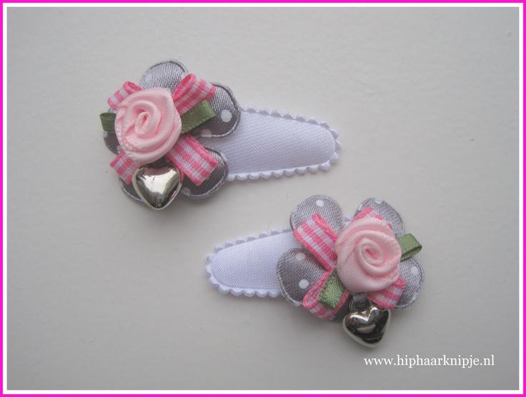 #baby #haarknipjes roze grijs meisjes www.hiphaarknipje.nl