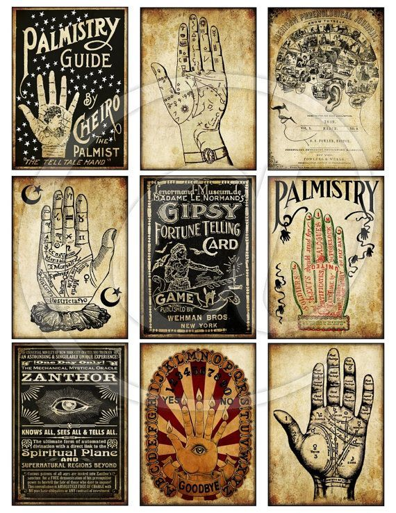 Vintage Palmistry Divination Halloween 2.5 x 3.5 Tags Digital Collage Sheet…
