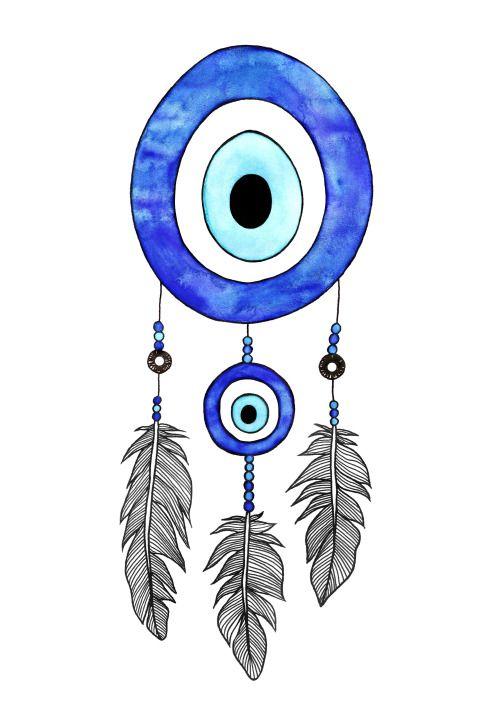 Nazar boncugu. Evil dye dreamcatcher illustration
