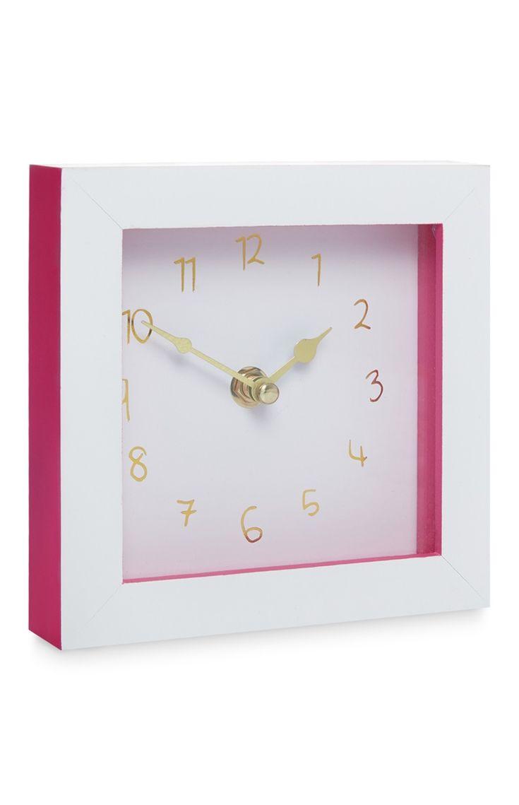 Primark - Pink and White Desk Clock