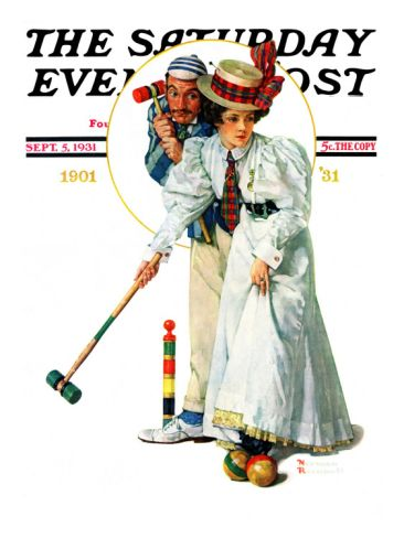 """""""Croquet"""" or """"Wicket Thoughts"""" Saturday Evening Post Cover, September 5,1931 Giclee Print by Norman Rockwell at Art.comRockwell Art, Giclee Prints, 5 1931 Giclee, Art Norman Rockwell, Artists Normanrockwel, Rocks, Magazines Covers, Post Covers, Judith Land"""