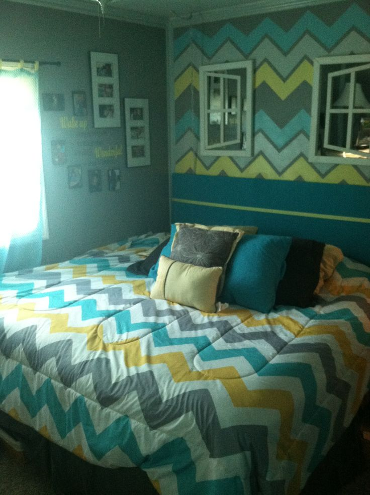 Chevron Themed Bedroom Using Yellow Gray Turquoise Kaylan Bedspreads